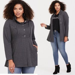 Torrid Charcoal Knit Hooded Jacket Plus Size